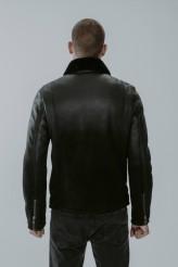 Degradeli Siyah Biker Erkek Mont